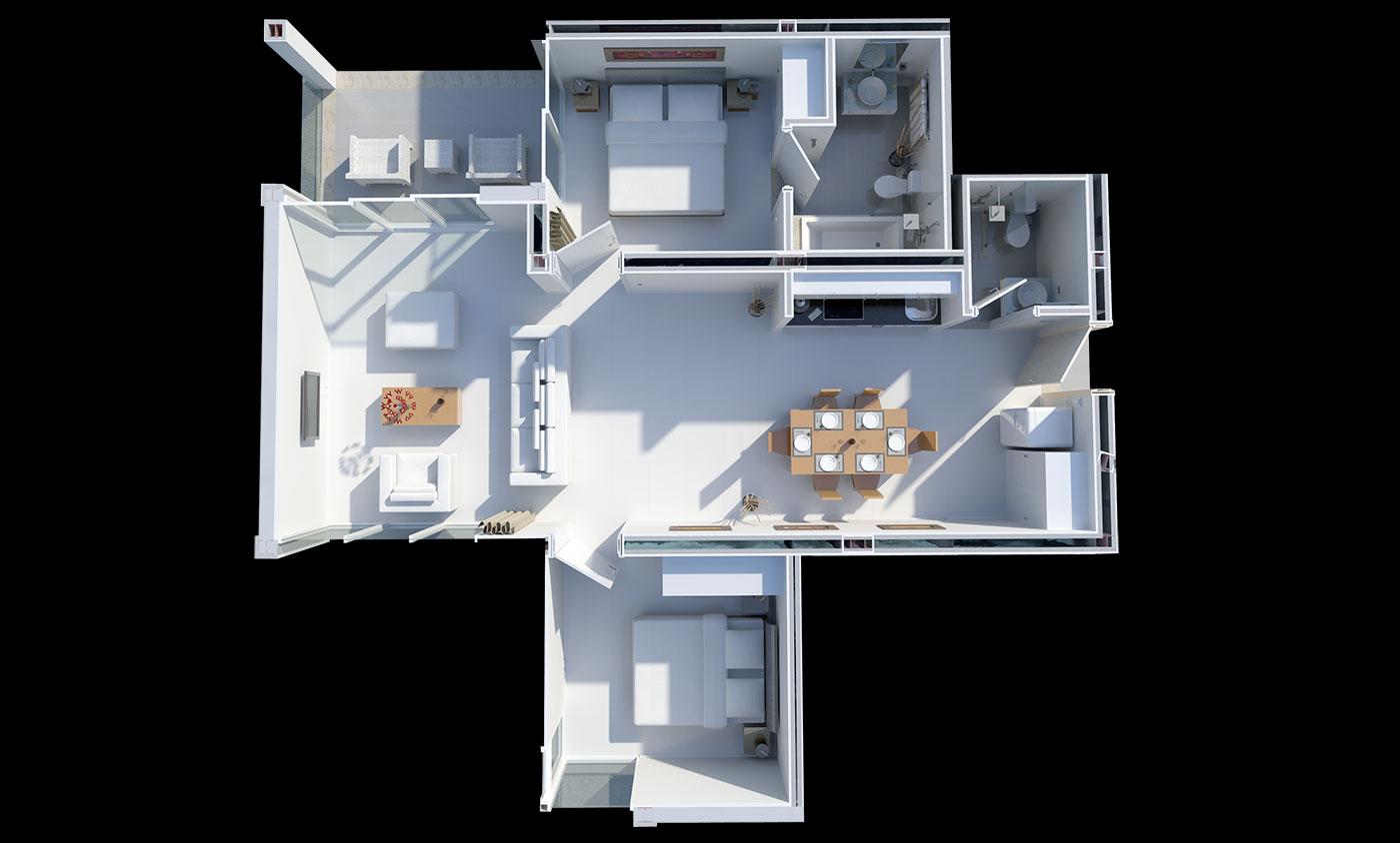 Floorplan Deluxe Two Bedroom Suite