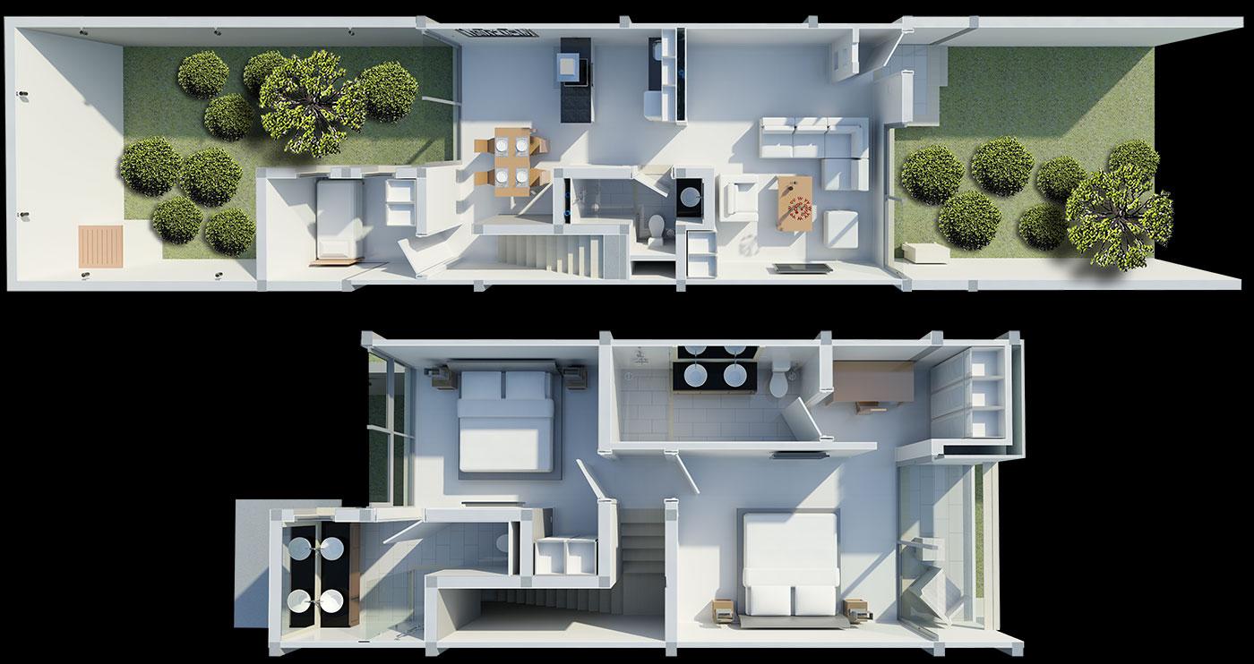 Floorplan Three Bedroom Townhouse