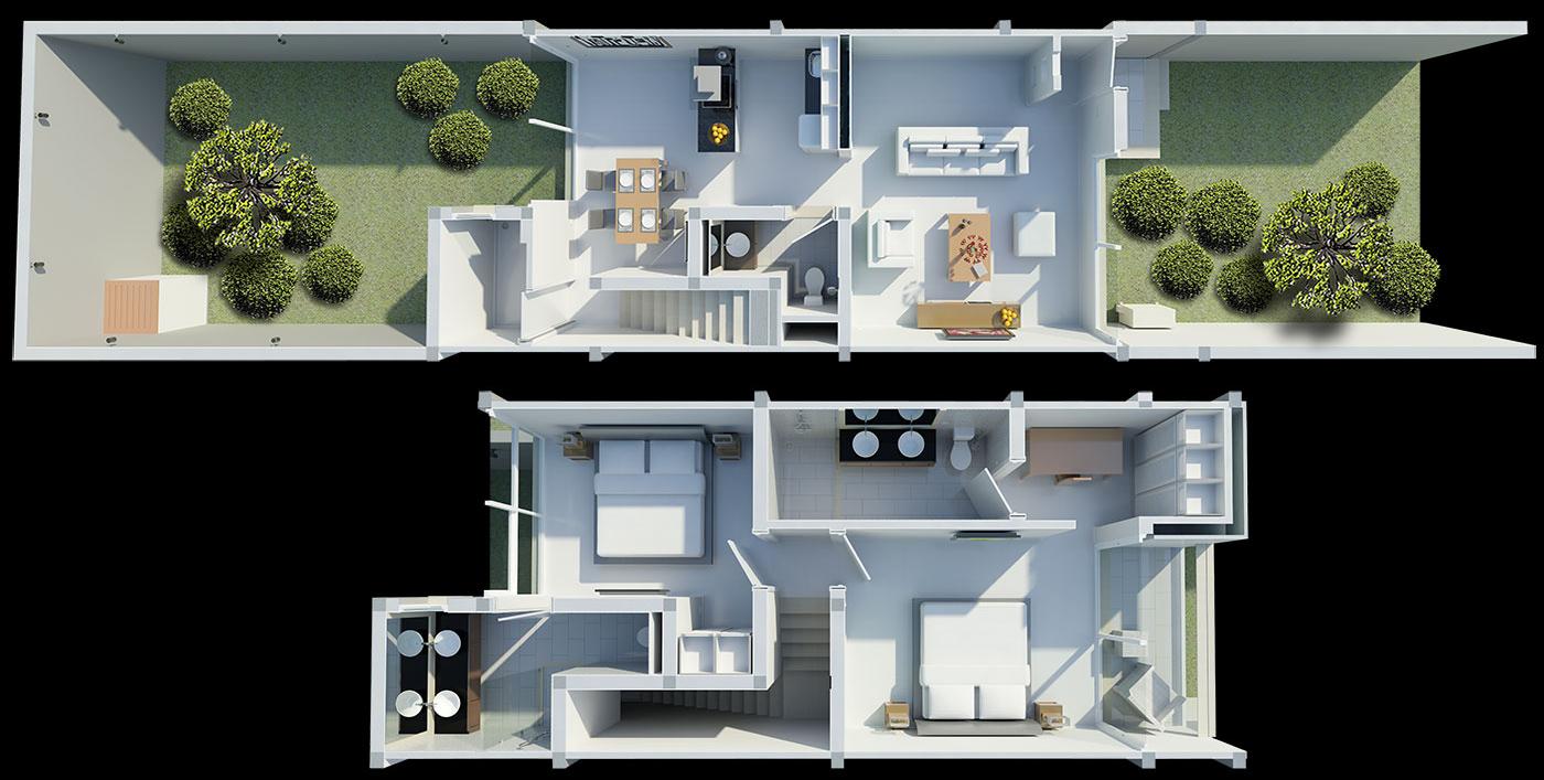 Floorplan Two Bedroom Townhouse