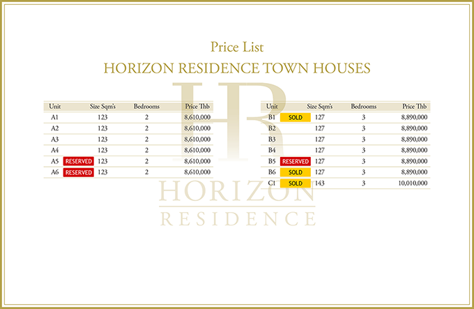Town House Price List